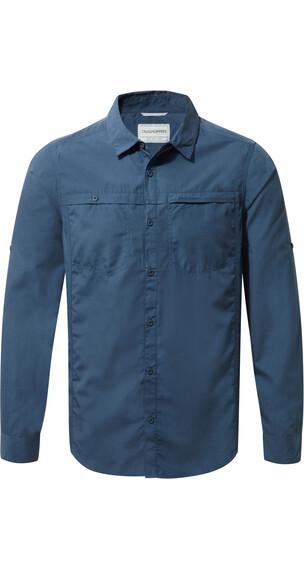 Craghoppers Kiwi Trek Shirt Men Long Sleeved Vintage Indigo